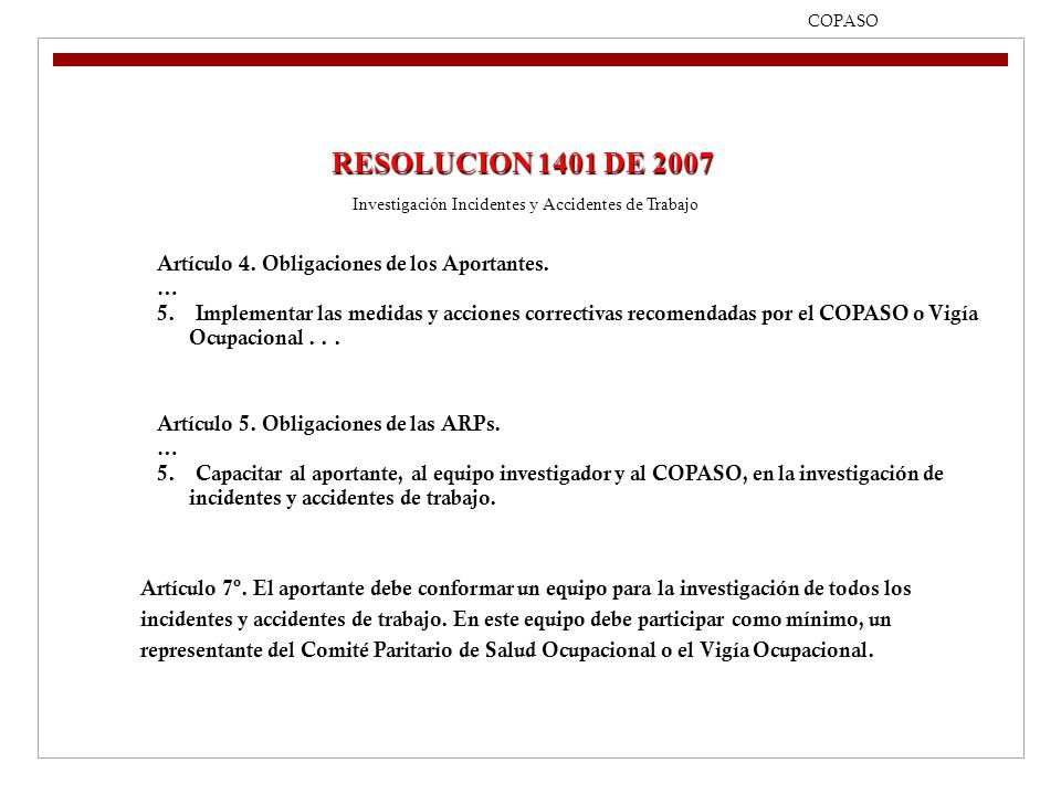 Investigación Incidentes y Accidentes de Trabajo