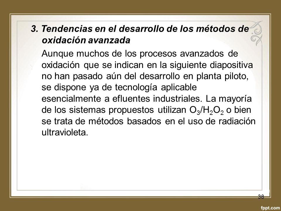 3. Tendencias en el desarrollo de los métodos de oxidación avanzada