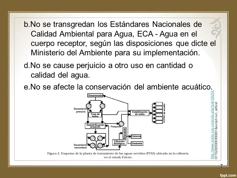 d.No se cause perjuicio a otro uso en cantidad o calidad del agua.