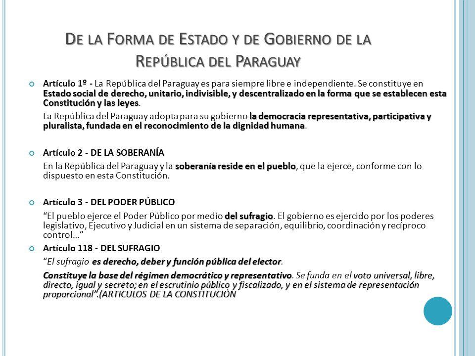 De la Forma de Estado y de Gobierno de la República del Paraguay