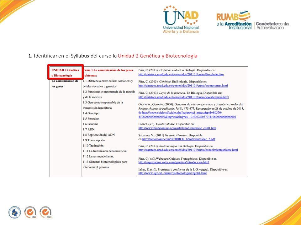 1. Identificar en el Syllabus del curso la Unidad 2 Genética y Biotecnología