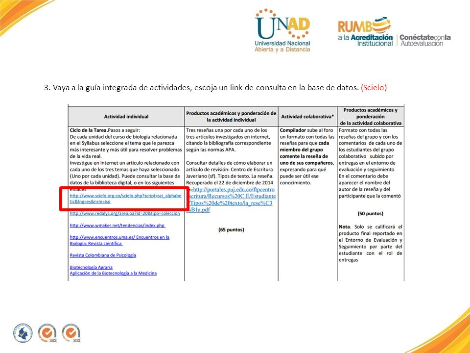 3. Vaya a la guía integrada de actividades, escoja un link de consulta en la base de datos. (Scielo)