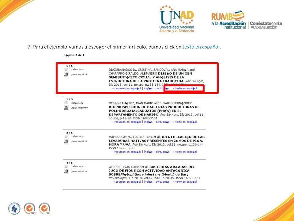7. Para el ejemplo vamos a escoger el primer artículo, damos click en texto en español.