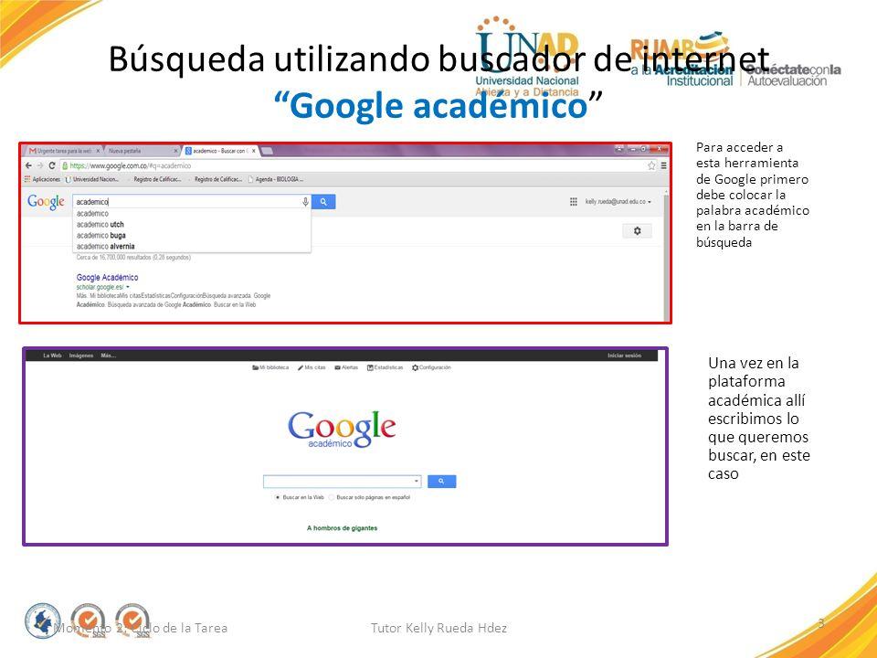 Búsqueda utilizando buscador de internet Google académico