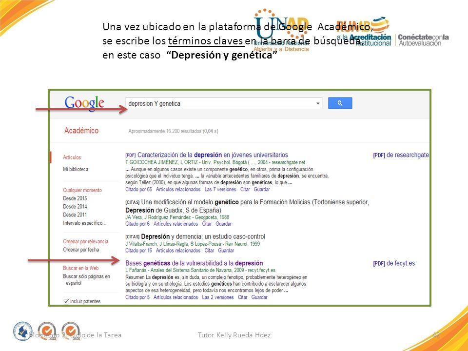 Una vez ubicado en la plataforma de Google Académico, se escribe los términos claves en la barra de búsqueda, en este caso Depresión y genética