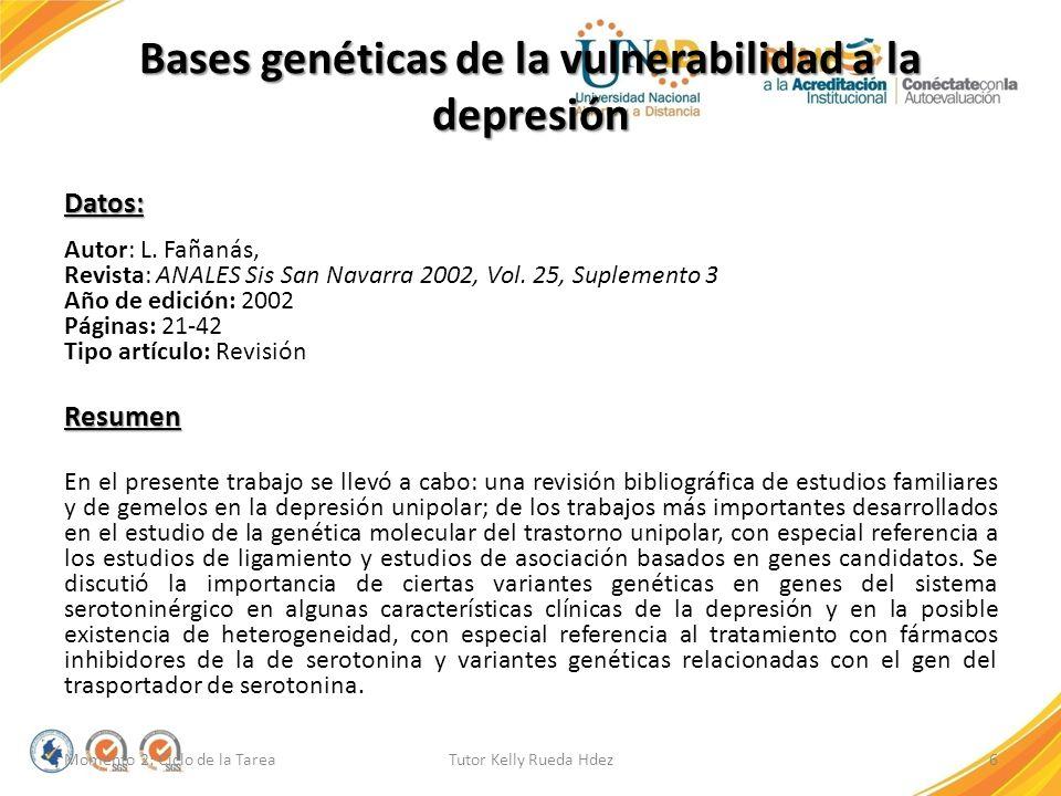 Bases genéticas de la vulnerabilidad a la depresión
