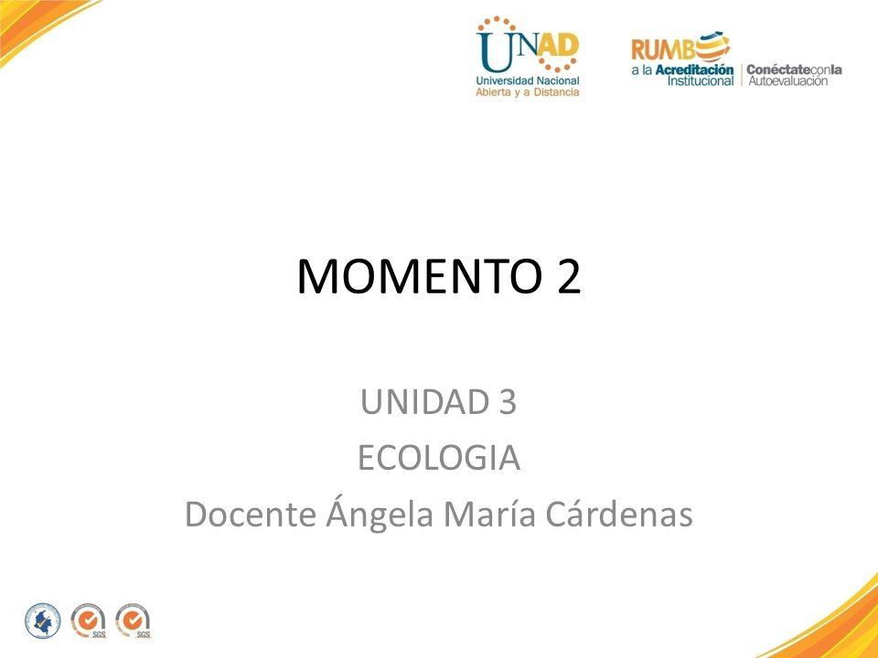 UNIDAD 3 ECOLOGIA Docente Ángela María Cárdenas