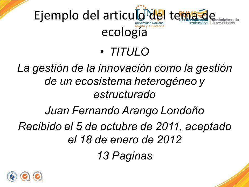 Ejemplo del articulo del tema de ecología