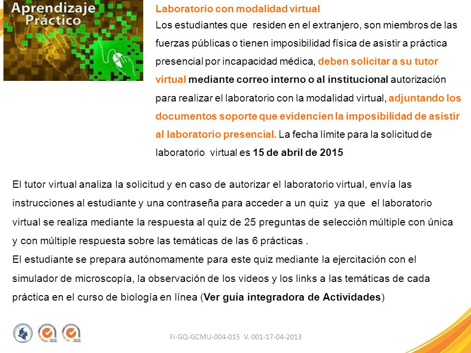 Laboratorio con modalidad virtual