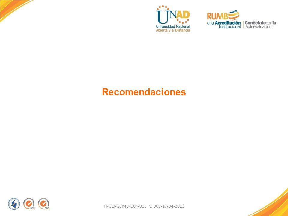 Recomendaciones FI-GQ-GCMU-004-015 V. 001-17-04-2013
