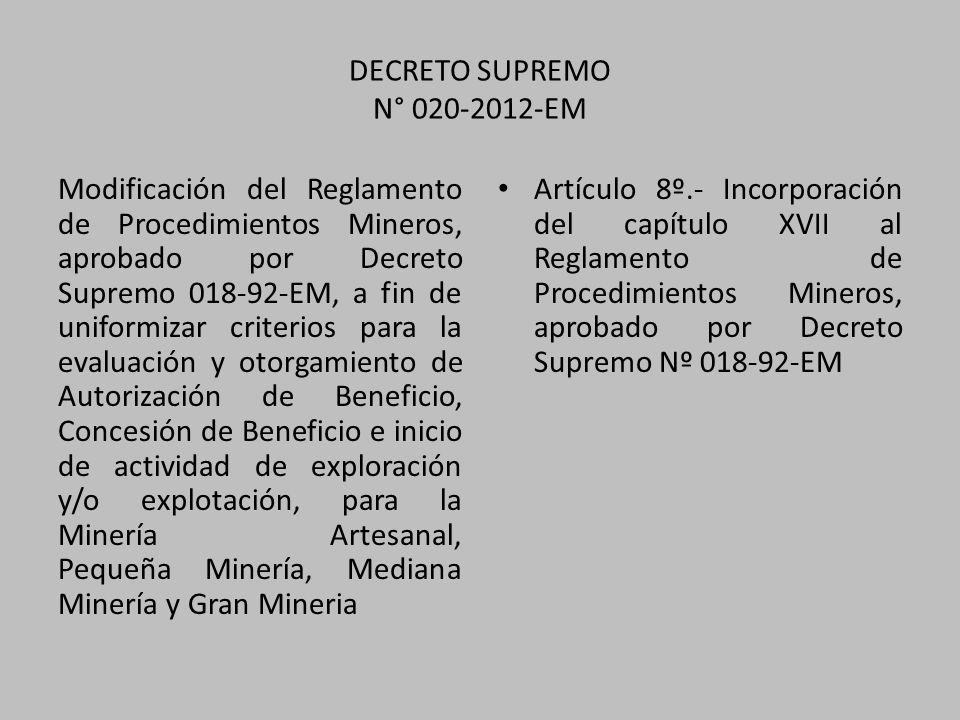 DECRETO SUPREMO N° 020-2012-EM