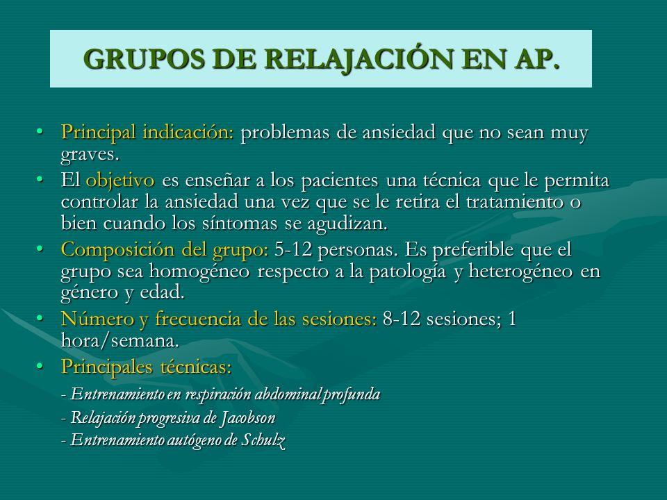 GRUPOS DE RELAJACIÓN EN AP.