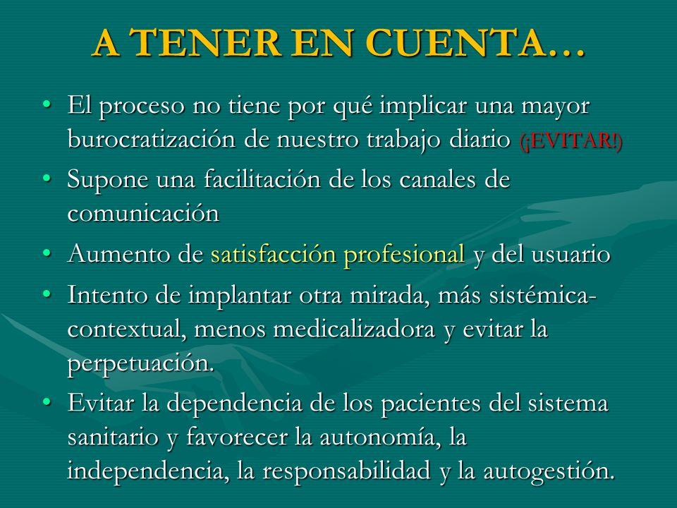 A TENER EN CUENTA…El proceso no tiene por qué implicar una mayor burocratización de nuestro trabajo diario (¡EVITAR!)