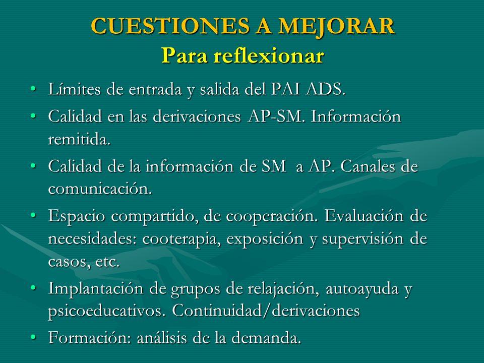 CUESTIONES A MEJORAR Para reflexionar