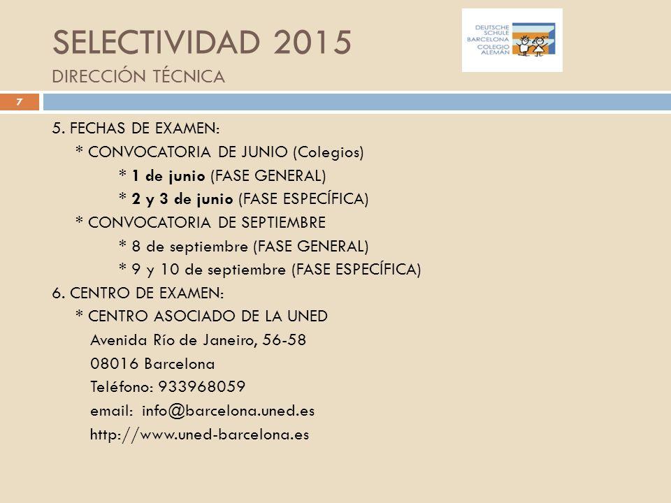 SELECTIVIDAD 2015 DIRECCIÓN TÉCNICA
