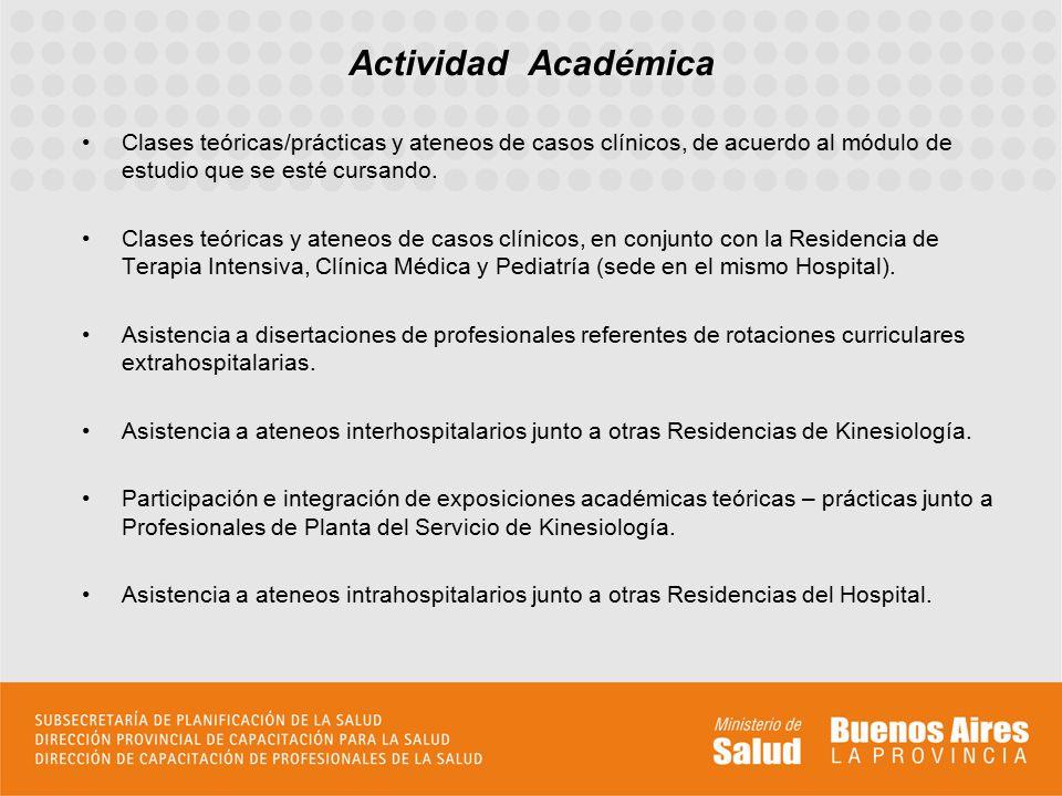 Actividad Académica Clases teóricas/prácticas y ateneos de casos clínicos, de acuerdo al módulo de estudio que se esté cursando.