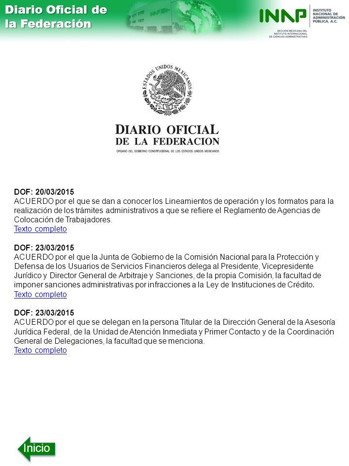 Diario Oficial de la Federación Inicio DOF: 20/03/2015