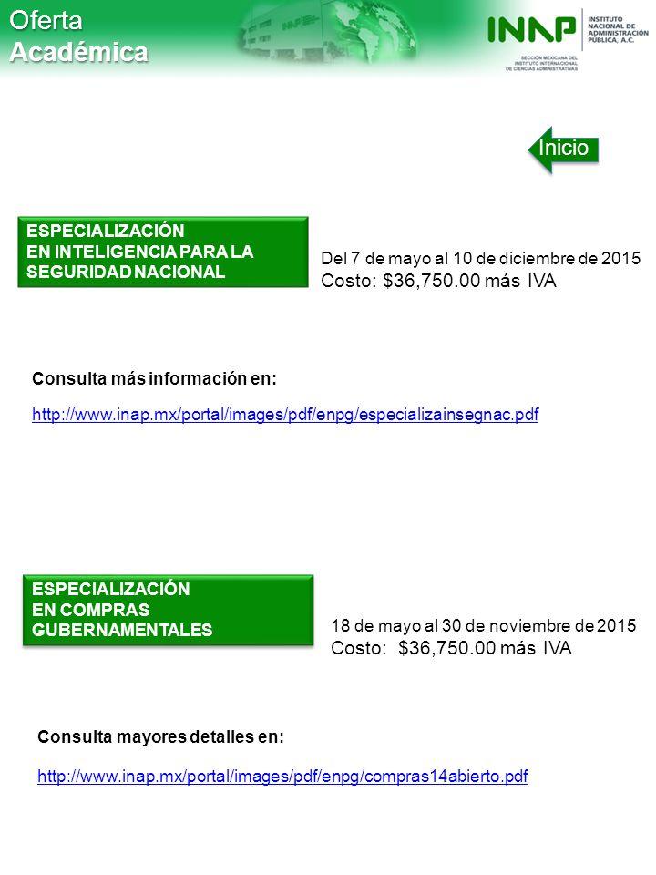 Oferta Académica Inicio Costo: $36,750.00 más IVA ESPECIALIZACIÓN