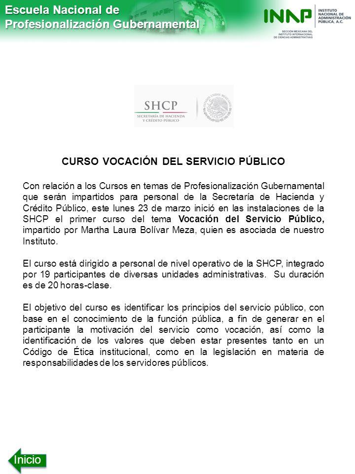 CURSO VOCACIÓN DEL SERVICIO PÚBLICO
