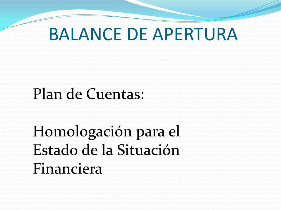 BALANCE DE APERTURA Plan de Cuentas: