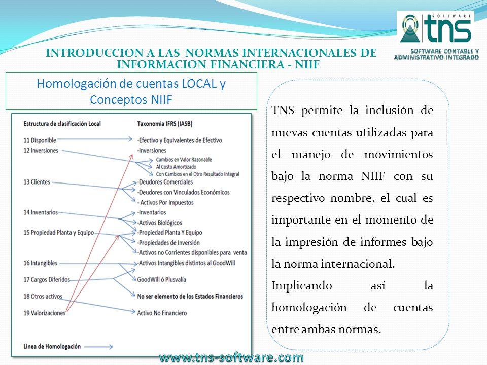 Homologación de cuentas LOCAL y Conceptos NIIF