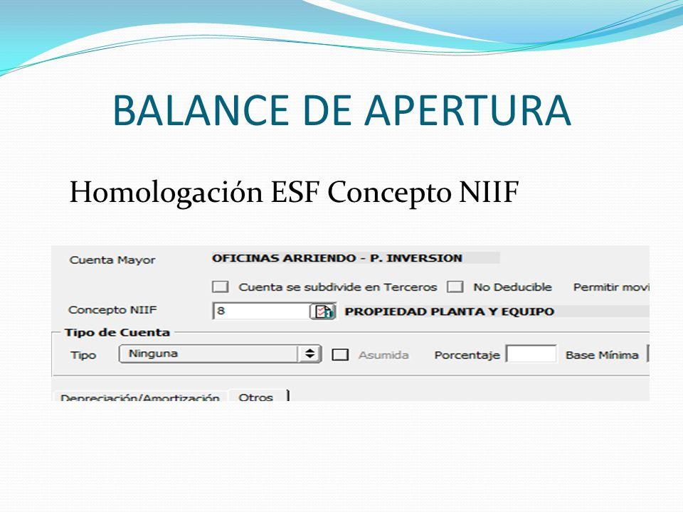 BALANCE DE APERTURA Homologación ESF Concepto NIIF