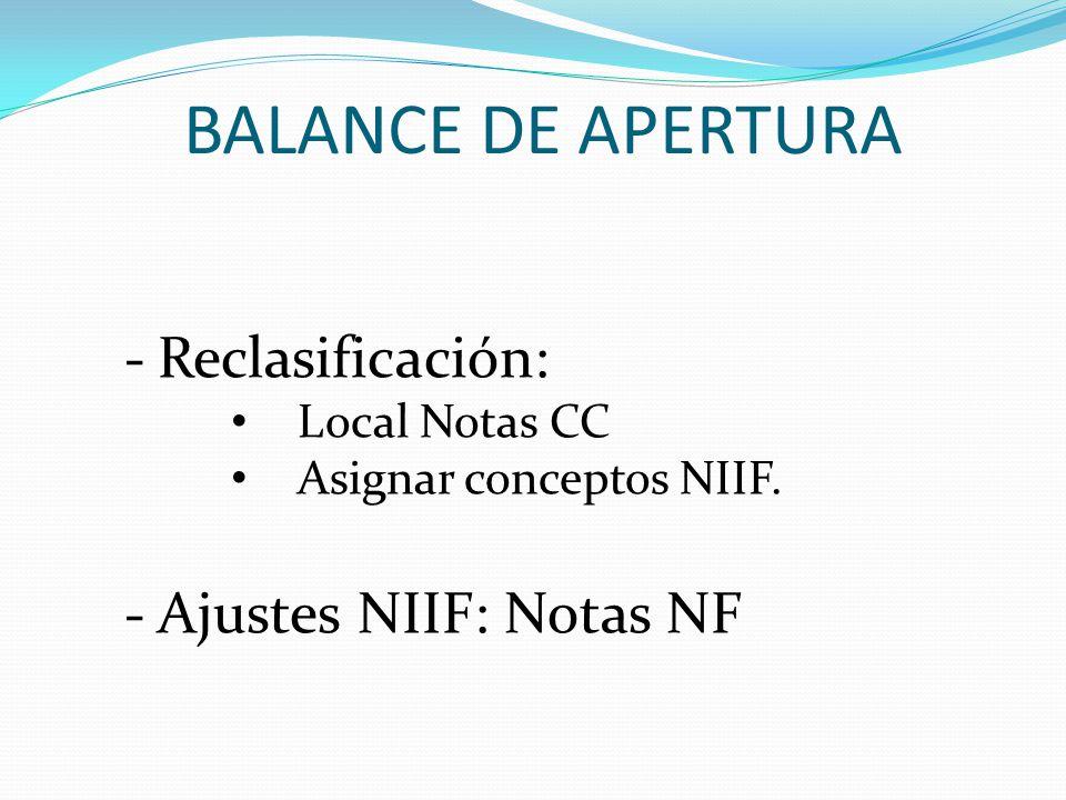 BALANCE DE APERTURA Reclasificación: Ajustes NIIF: Notas NF