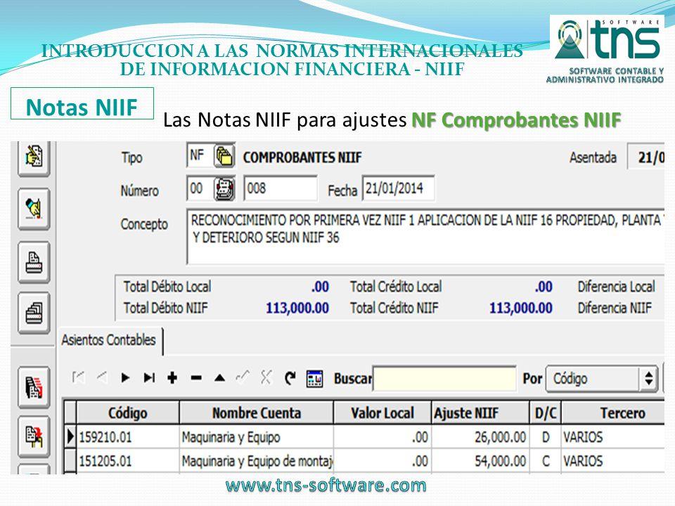 Las Notas NIIF para ajustes NF Comprobantes NIIF
