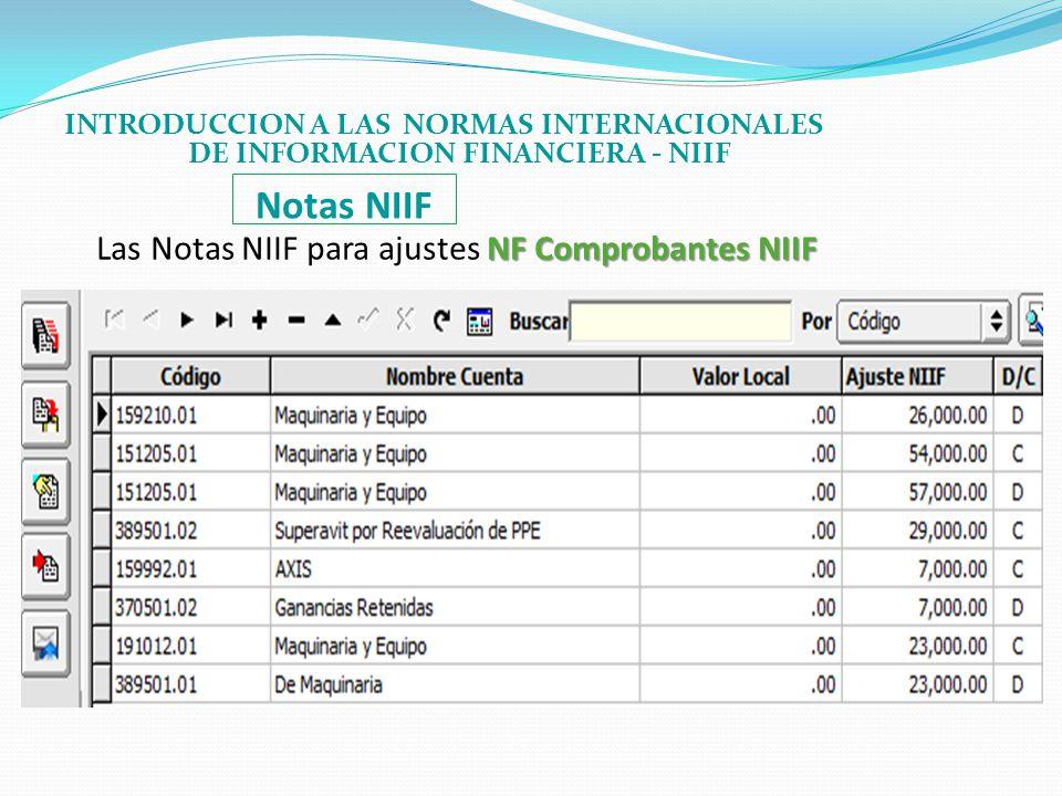 Notas NIIF Las Notas NIIF para ajustes NF Comprobantes NIIF