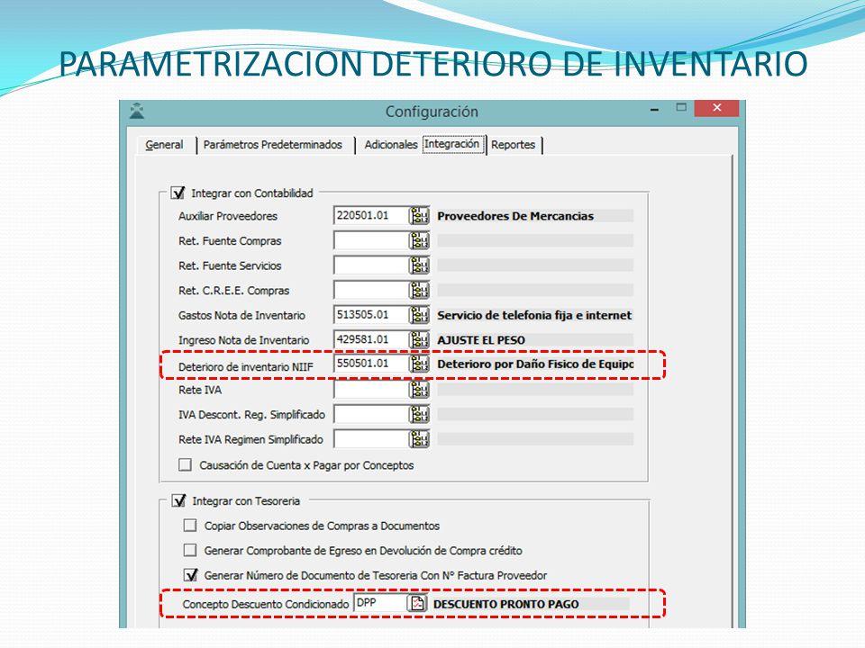 PARAMETRIZACION DETERIORO DE INVENTARIO