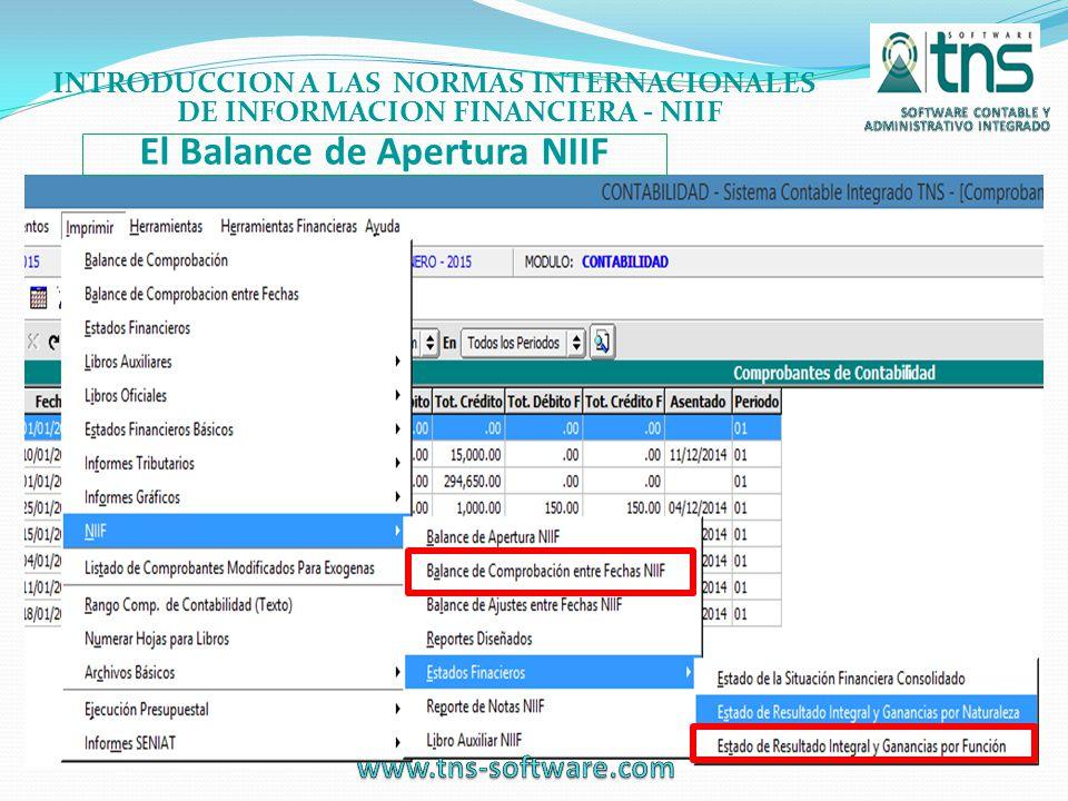 El Balance de Apertura NIIF