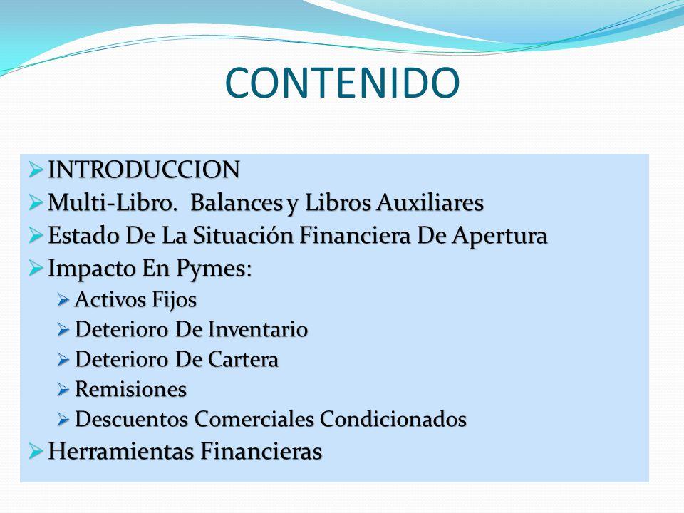 CONTENIDO INTRODUCCION Multi-Libro. Balances y Libros Auxiliares