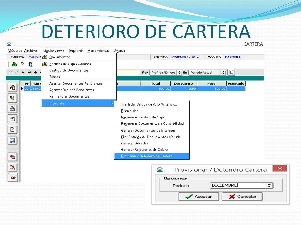DETERIORO DE CARTERA