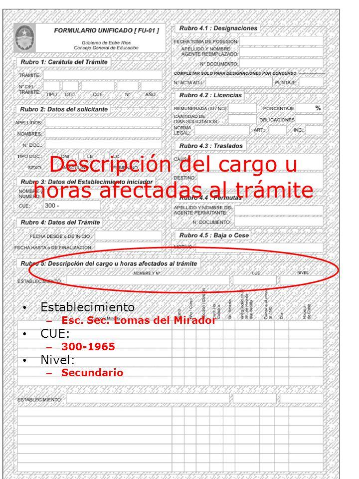 Descripción del cargo u horas afectadas al trámite