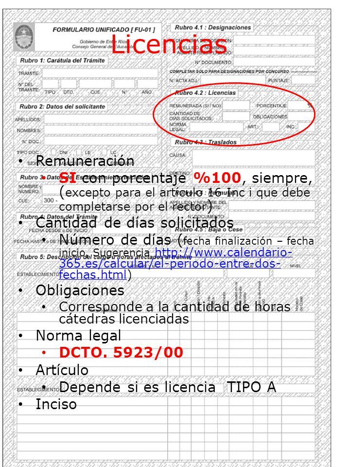 Licencias Remuneración
