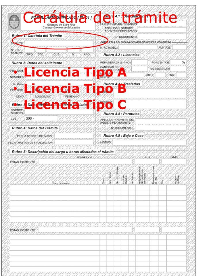 Carátula del trámite Licencia Tipo A Licencia Tipo B Licencia Tipo C