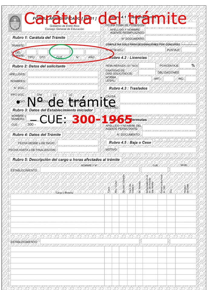 Carátula del trámite N° de trámite CUE: 300-1965