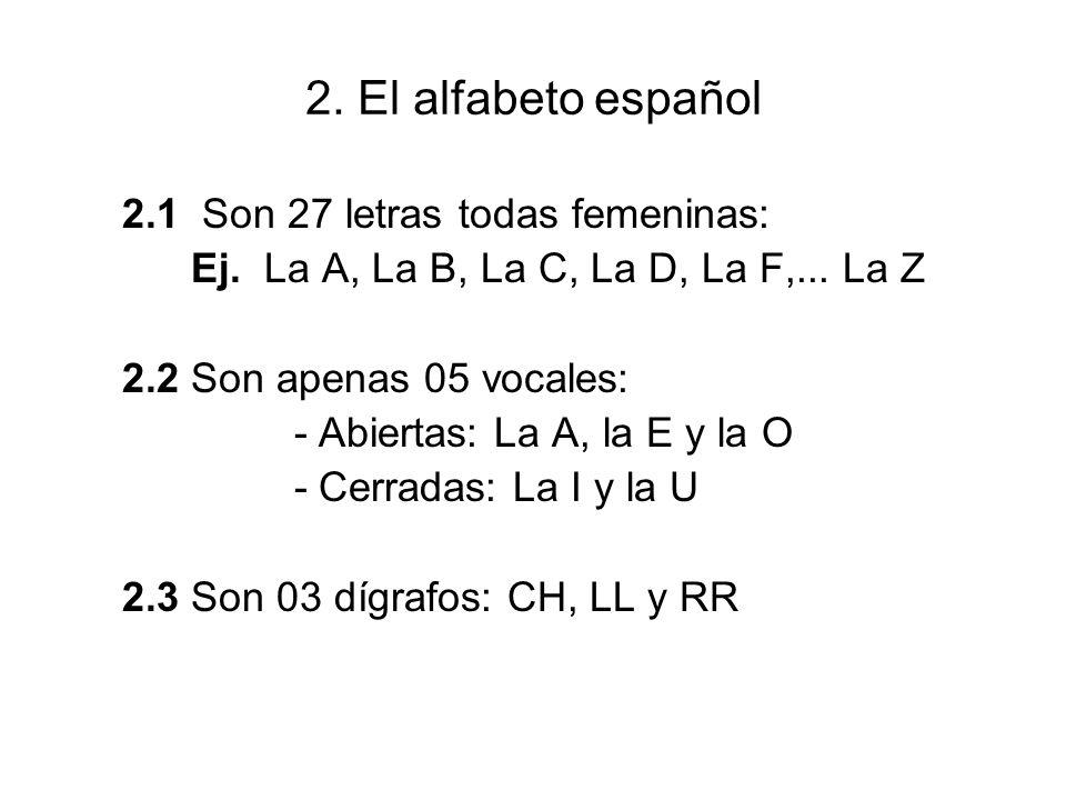 2. El alfabeto español 2.1 Son 27 letras todas femeninas: