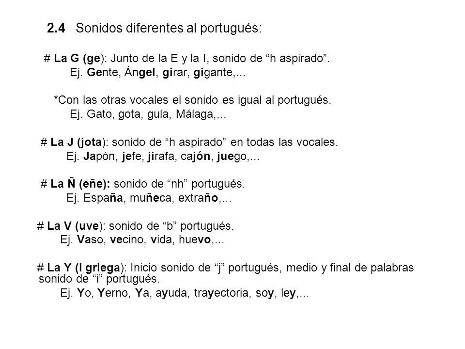 2.4 Sonidos diferentes al portugués: