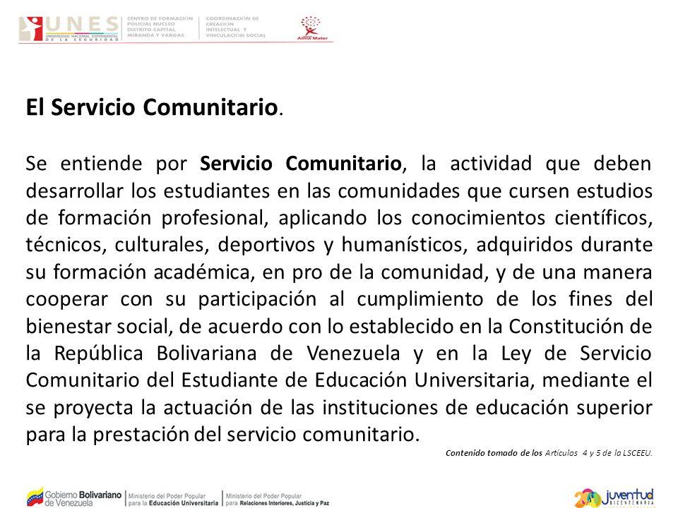 El Servicio Comunitario.