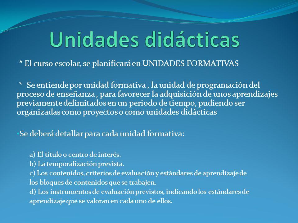 Unidades didácticas * El curso escolar, se planificará en UNIDADES FORMATIVAS.