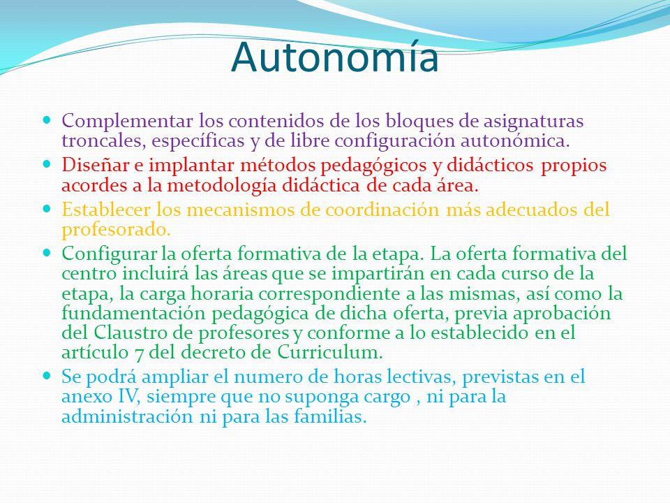 Autonomía Complementar los contenidos de los bloques de asignaturas troncales, específicas y de libre configuración autonómica.