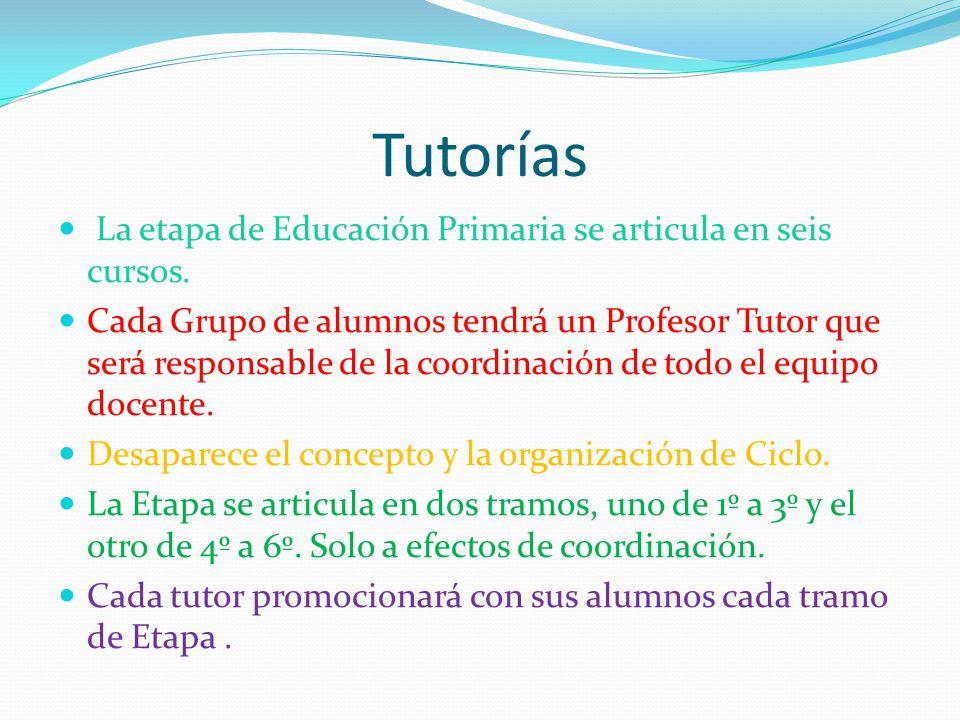 Tutorías La etapa de Educación Primaria se articula en seis cursos.