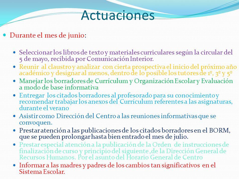 Actuaciones Durante el mes de junio: