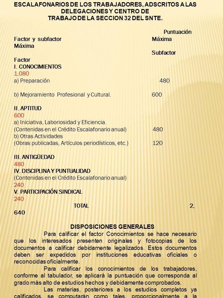 TRABAJO DE LA SECCION 32 DEL SNTE. DISPOSICIONES GENERALES