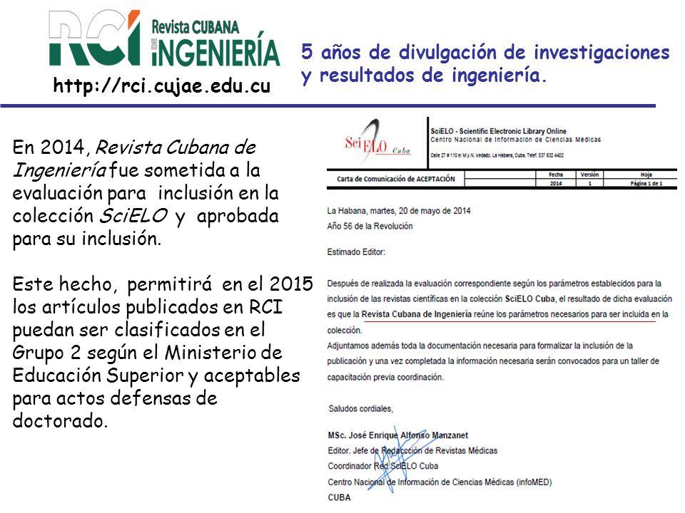 5 años de divulgación de investigaciones y resultados de ingeniería.
