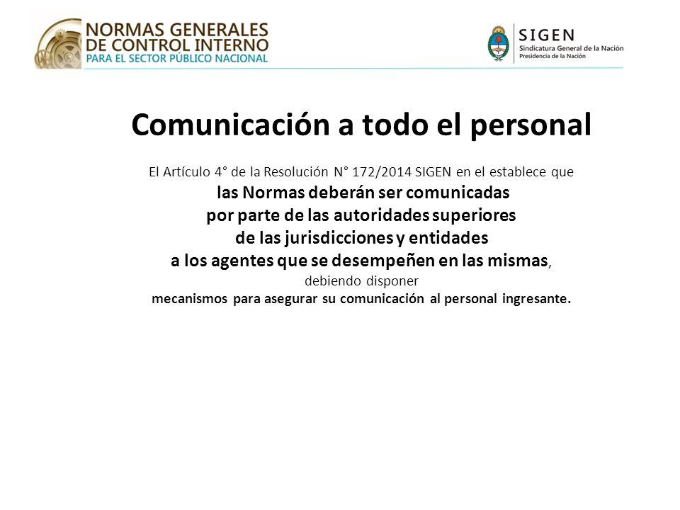 Comunicación a todo el personal