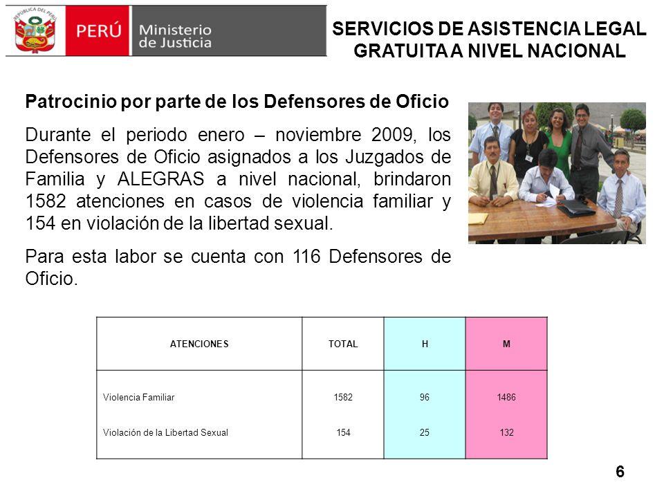 SERVICIOS DE ASISTENCIA LEGAL GRATUITA A NIVEL NACIONAL