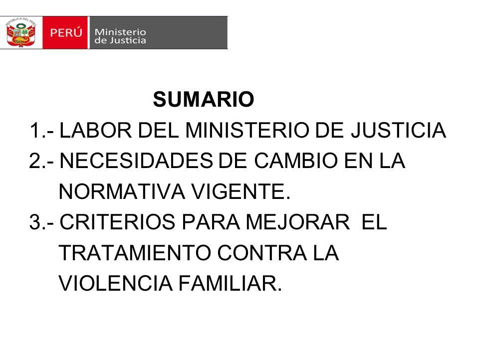 SUMARIO 1. - LABOR DEL MINISTERIO DE JUSTICIA 2