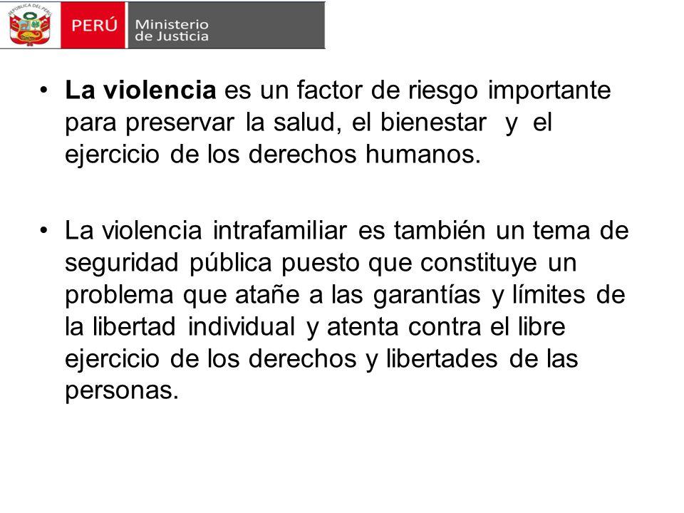 La violencia es un factor de riesgo importante para preservar la salud, el bienestar y el ejercicio de los derechos humanos.